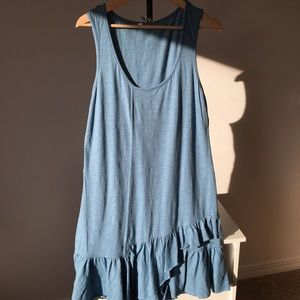 Sundance Blue A-Line Jersey Tank Dress Raw Hem